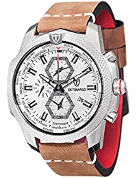 DeTomaso Discoverer XXL - Reloj de cuarzo para hombres, con correa de cuero de color marrón, esfera blanco y gris