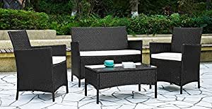 Garden Furniture Set Table Chair and Sofa Black RATTAN Conservatory, Patio Garden