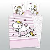 Pummeleinhorn Bettwäsche rosa 135 x 200 + 80 x 80 cm 100% Baumwolle