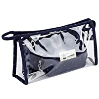 Uniui Transparent Set of 3 PVC Make Up Bags for Teenage Girls Women Portable Waterproof Cosmetic Pouch Travel Wash Bag Toiletry Bag (Navy)