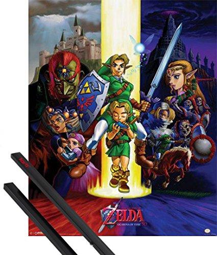 1art1 Poster + Hanger: The Legend of Zelda Mini-Poster (50x40 cm) Ocarina of Time Inklusive EIN Paar Posterleisten, Schwarz