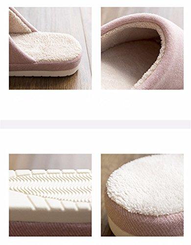 YMFIE Home Inverno cotone pantofole signori uomini indoor piano casa gli amanti di antislittamento caldo scarpe pantofole B