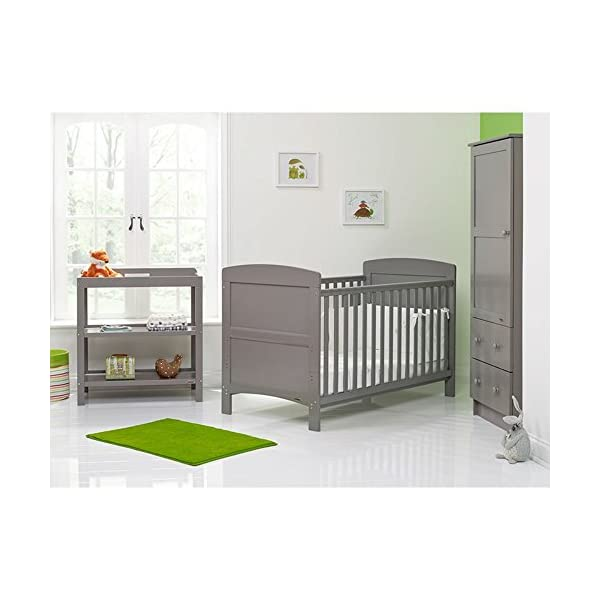 Obaby Grace 3 Piece Nursery Furniture Set - Taupe Grey Obaby 3 mattress base heights, protective teething rails included and split end panels for conversion to a toddler bed Changing unit has 2 generous open shelves for storage Wardrobe includes a large cupboard with 2 internal hanging rails and 2 deep drawers 1