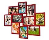 Holz Fotogalerie für 10 Fotos 13x18 cm - 3d 1002 Bilderrahmen Bildergalerie Fotocollage Rahmenfarbe Dunkel-Rot
