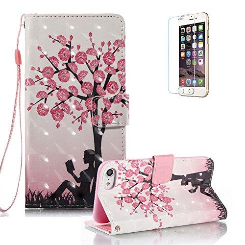Gurt Lederhülle für iPhone 7,Premium Seil Brieftasche für iPhone 7,Funyye Stilvoll Luxuriös 3D Blume Mädchen Muster PU Leder Zubehör im Bookstyle Schale mit Ständer Standfunktion Etui Karten Slot und  Color-03