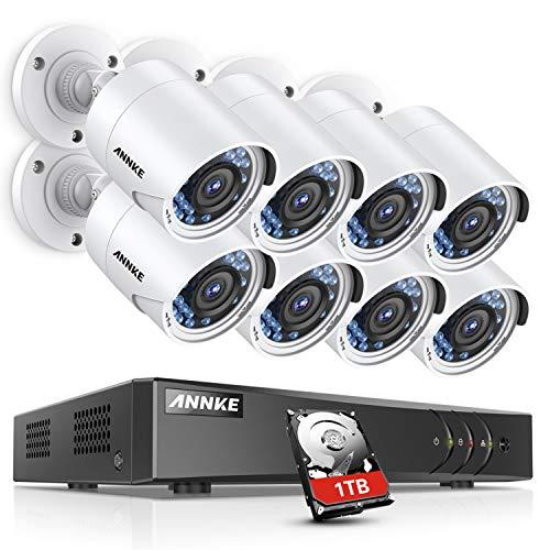 ANNKE Überwachungskamera Set 8CH 1080P Videoüberwachung AHD DVR Recorder mit 8X 1080P Sicherheitskamera Überwachungssystem für innen und außen Bereich mit 1TB Festplatte Nachtsicht bis zu 30 Meter