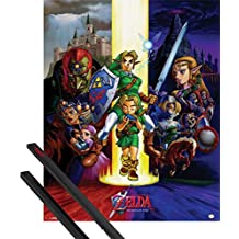 Póster + Soporte: The Legend Of Zelda Póster Mini (50x40 cm) Ocarina Of Time Y 1 Lote De 2 Varillas Negras 1art1®