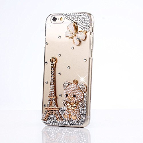 Sense TE iPod Touch (6th Generation) Case, Sense-TE Luxurious Crystal 3D Handmade Sparkle Glitter Diamond Rhinestone Clear Cover with Retro Bowknot Anti Dust Plug - Eiffel Tower Butterfly Bear
