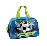 Fussball - Soccer Sporttasche Reisetasche mit tollem Fussmallmotiv (074X) für Jungen und Mädchen, blau/grün, 40 x 25 x 13 cm