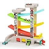 TOP BRIGHT Kugelbahn Autos Holz ab 1 Jahr, Auto Rennbahn Holz Spielzeug, Holz Kinderspielzeug 1 Jahr Jungen