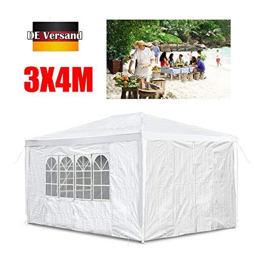 Huini 3x4m Pavillon im Freien Garten Zelt mit 4 abnehmbare Seitenwand für Party Hochzeit BBQ wasserdichte Markise Patio Pavillon - Weiß