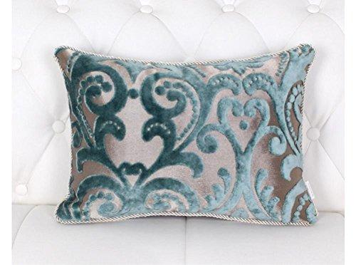 HYSENM Kissenhülle Samt Jacquard Weich Hautfreundlich mit Reißverschluss Kissenbezug für Sofakissen Dekokissen Autokissen Zierkissen Pillow Case, Blau 30x50cm