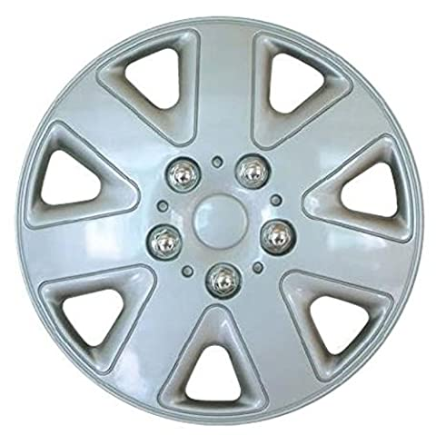XtremeAuto® 14'' Madrid Sport Silver Car Wheel Trim Hub Cap Covers 7 Spoke - Includes Chrome Valve Caps and Silver Cable Ties