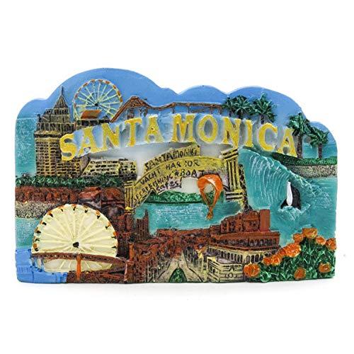 Santa Monica Kalifornien Anziehungskraft Karte USA Amerika 3D Handgemalter Harzmagnet Golden Gate Bridge Insel Alcatraz Golden Gate Park PIER 39 Palast der schönen Künste Twin Peaks Blue