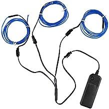 Filo elettroluminescente (EL Wire) Splitter 3 x 1,5 metri d'ardore di effetto stroboscopico della luce al neon Set (Blue)