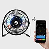 Ventilateur rotatif, DIGOO DG-TF111 DIY 6 pouces USB LED lumière électrique en métal horloge ventilateur rotatif affichage coloré Bluetooth Se connecter avec APP contrôle, mini-montre LED ventilateur