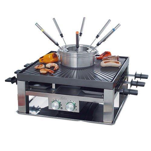 Solis Raclette, Tischgrill und/ oder Fleischfondue, 8 Personen, Edelstahl, Combi-Grill 3 in 1 Typ 796