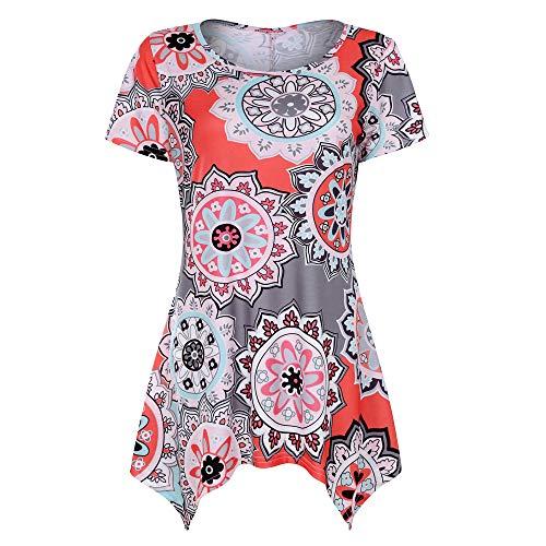 Andouy Swing Tunika Womens Aztec Blumendruck O Hals Kurzarm Dip Hem Top Größe 36-44 Shirt Damen...