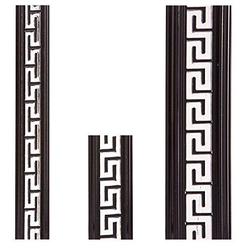 Zierleiste Versace Schwarz Silber Zierprofile Flachleiste Deckenleiste Decke Bordüre Stoßfest Geprägt 5,5 cm