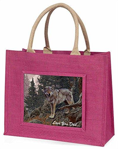 Berg Wolf 'Love You Dad' Große rosa Jute Einkaufstasche Weihnachtsgeschenk (Lieben Wölfe Berg)