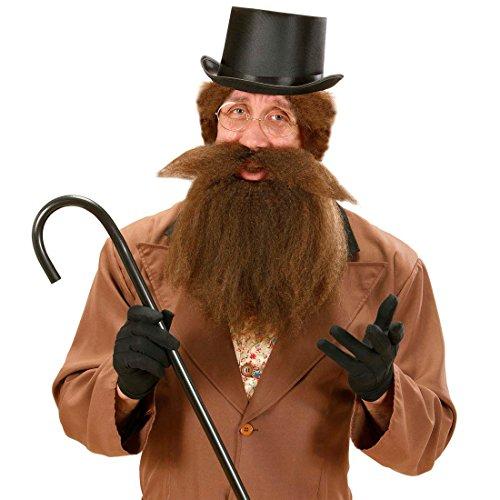 Urmensch Bart braun Rabbi Vollbart mit Schnurrbart lang Falscher Judenbart Steinzeit Herrenbart mit Mustache Langer Moslem Kunstbart Buschiger Karnevalsbart Dschungel Barbar Karneval Kostüm (Kostüm Rabbi Bart)