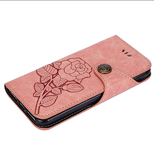Custodia iPhone 6S,Custodia iPhone 6,ikasus® iPhone 6S / 6 Custodia Cover [PU Leather] [Shock-Absorption] Protettiva Portafoglio Cover Custodia Con retro fibbia in pelle 3D rilievo in rilievo Roses fl Rosa
