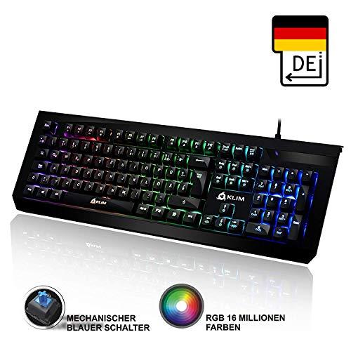 KLIM Domination - DEUTSCHE - Mechanische RGB-QWERTZ-Tastatur - 2019 Version - Blaue Tasten - Schneller Präziser Angenehmer Tastenanschlag - VOLLSTÄNDIGE FREIHEIT BEI DER FARBAUSWAHL PC PS4 Xbox One