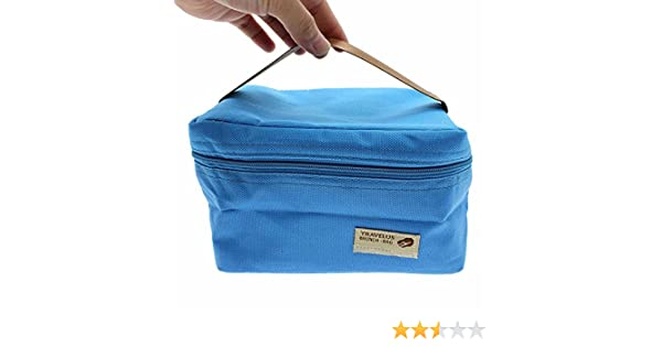 b30fd73c75dd HuaYang Cute kawaii Small Portable Insulated Outdoor Picnic Lunch Box Tote  Storage Carry Bag- Blue
