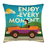 BUZRL Road Trip Throw Pillow Cushion Cover, Comic Style Print with a Guy Driving Car in a Sunny Day and Motivational Quote, Decorative Square Accent Pillow Case, 18 X 18 inches, Multicolor