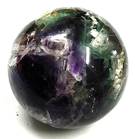 Healing Crystals India®: Natural Multi Fluorite 60-70 mm Polished Crystal Sphere Ball Metaphysical Healing Mineral Feng Shui Chakra Aura Balance Stone Free