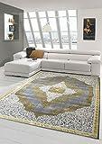 Designer und Moderner Teppich Kurzflor Teppich Orient in Grau Beige Gold Größe 160x230 cm