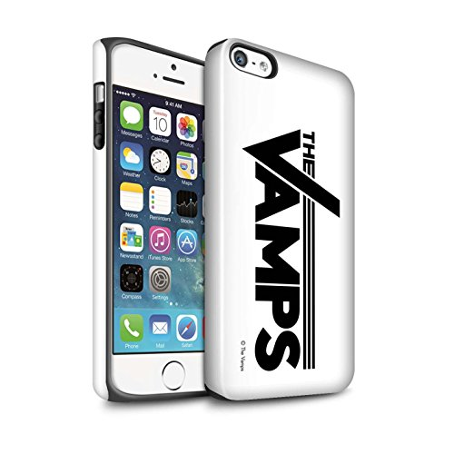 Offiziell The Vamps Hülle / Glanz Harten Stoßfest Case für Apple iPhone SE / Pack 6pcs Muster / The Vamps Graffiti Band Logo Kollektion Weiß/Schwarz