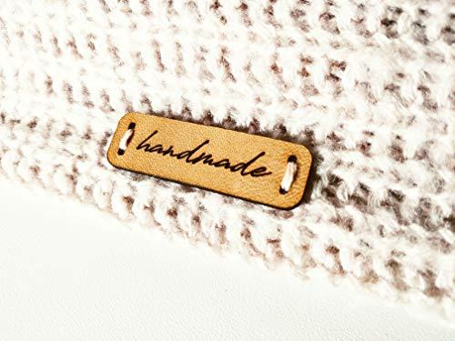 3DP Handgefertigte Lederetiketten C2 Handmade | 15 Stück | Exklusive gravierte Echte Italienische Leder-Tags -