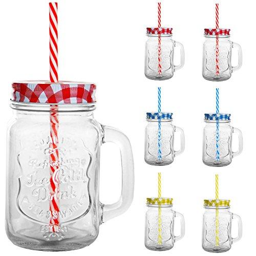 6 x Trinkbecher Trinkgläser Karo Motiv mit Deckel und Strohhalm - Trinkglas - Cocktailglas - Glas - Gläser - Füllmenge 450 ml