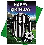 AK Giftshop Geburtstagskarte mit Fußball-Motiv, Personalisierbar, für Vater, Ehemann, Sohn, Tochter, Mutter, Juventus Farben