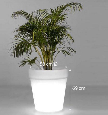 Gowe étanche H69 cm 16 couleurs lumineux Gota Pot lumière LED Lampe Pot de fleurs d'extérieur sans fil, lumineuse Gio Bol de fruits Plateau de service