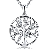 JO WISDOM damen Halskette 925 Sterling Silber Baum des Lebens Yggdrasil kubischen Zirkonia Münze Kette mit Anhänger