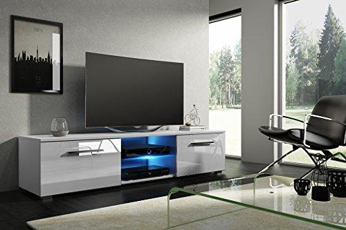 Meuble télé de Silvia unité Meuble Bas divertissement multimédia LED en option (Blanc mat/blanc brillant)