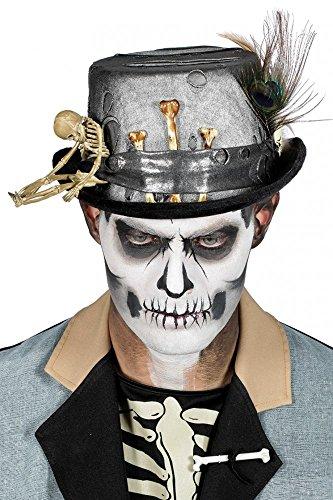 shoperama Schwarz-Grauer Voodoo Zylinder mit Pfauenfedern Knochen und Skelett Gr. 58-60 Halloween