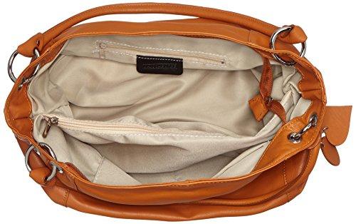 CTM Borsa elegante a sacca da donna in vera pelle morbida italiana made in Italy 35x29x15 Cm Cuoio