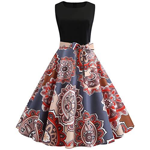 Zegeey Damen Abendkleid Ballkleider Vintage Blumen 50er Jahre Retro A-Linie äRmellose Rundhals Partykleider Cocktailkleid Festlich Geschenk Swing Kleid(rot,EU-42/CN-2XL)
