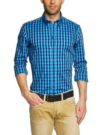 Seidensticker Herren Businesshemd 570352, Gr. 38, Mehrfarbig (16 Karo blau-d.blau)
