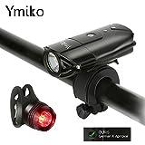 LED Fahrradbeleuchtung, Ymiko wiederaufladbar Fahrradlicht Fahrradlampen Frontlicht & Rücklicht ,...