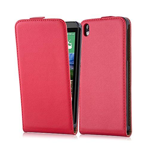 Cadorabo Hülle für HTC Desire 816 Hülle in Chili rot Handyhülle aus Glattem Kunstleder im Flip Design Case Cover Schutzhülle Etui Tasche Chili-Rot