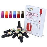 Ukiyo 6PCS Soak Off kit smalto semipermanente 8ml Variazione di temperatura di colore UV LED Smalto semipermanente unghie in Gel gel polish Nail Art set immagine