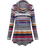 QUINTRA Damen Cowl Neck Pullover Tunika Sweatshirt Streifen Taschen Bluse lose Tops