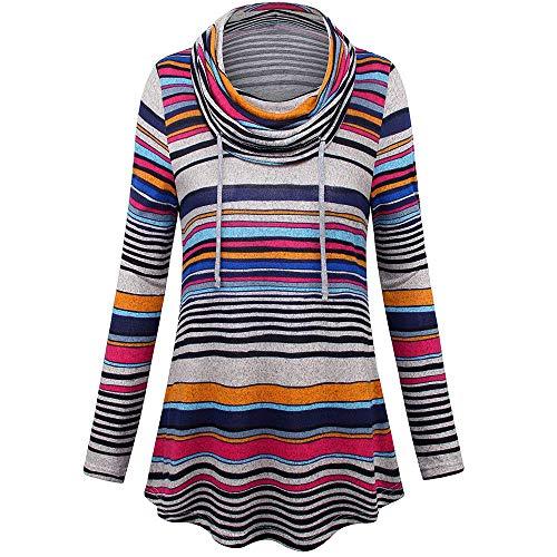 iHENGH Damen Frühling Sommer Top Bluse Bequem Lässig Mode Frauen Blusen Langarm Stripe Pockets Cowl Neck Pullover Sweatshirt Bluse Tops(Rot, M) Lace Cowl