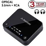 Avantree Transmetteur Bluetooth 4.2, Support entrée Optique TOSLINK, RCA, aptX Low Latency vers 2 casques, Adaptateur audio sans fil 3.5 mm pour TV, Indicateurs LED - Audikast [Garantie 3 ans]