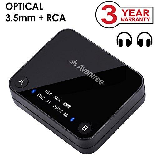 Avantree aptX Low Latency Bluetooth 4.2 Sender für 2 Kopfhörer, 30M HOHE REICHWEITE, Optical, RCA, 3,5mm AUX, USB Wireless Transmitter Fernseher, Adapter Audio für TV, PC - Audikast [3 Jahre Garantie]
