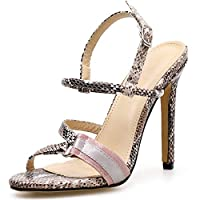 BIAN Heeled Sandals for Women Heel Stilettos Open Toe Ankle Strap Synthetic Leather Party Snakeskin with Metal Ring Backless (Color : Apricot, Size : 37 EU)